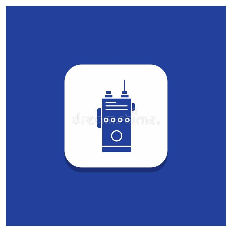 Blauwe Ronde Knoop voor walkie, talkie, mededeling, radio, het kamperen Glyph pictogram vector illustratie