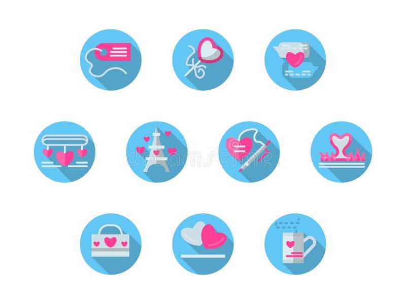 Blauwe ronde romantische geplaatste gebeurtenissen vlakke pictogrammen stock illustratie
