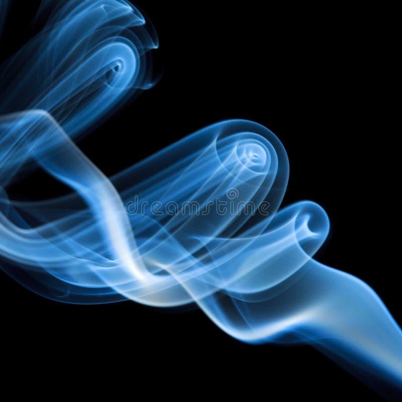 Blauwe rook op zwarte achtergrond royalty-vrije stock foto