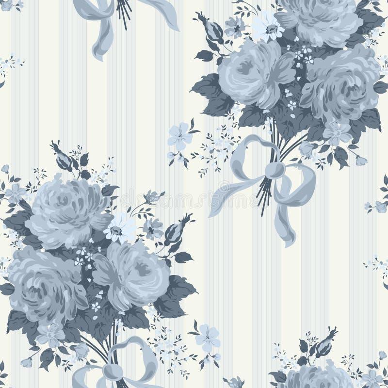 Blauwe Rose Vintage Wallpaper Bloemen patroon stock illustratie
