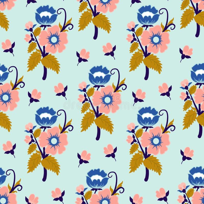 Blauwe, roze en gouden uitstekende bloemen, in een naadloos patroonontwerp vector illustratie