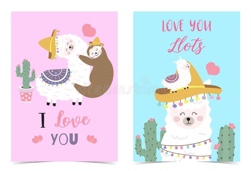 Blauwe roze hand getrokken leuke kaart met lama, luiaard, hoed, hart Ik houd van u Liefde u llots vector illustratie