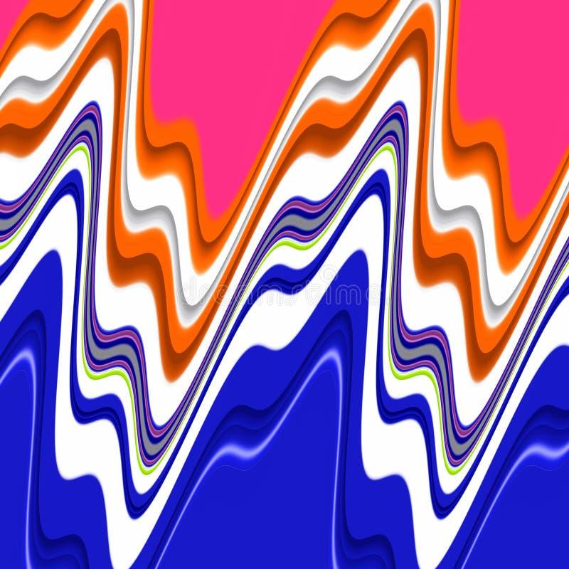 Blauwe roze oranje witte purpere vormenmeetkunde Vormen en vloeibare lijnenachtergrond stock illustratie