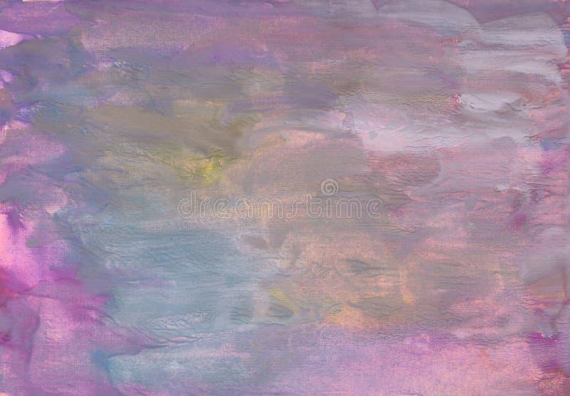 Blauwe, roze, purpere, roze verfachtergrond met document textuur royalty-vrije stock fotografie