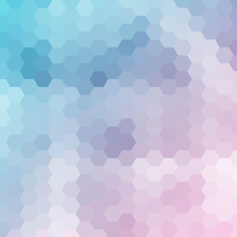 blauwe roze zeshoeken Veelhoekige stijl Abstracte vectoreps 10 royalty-vrije illustratie
