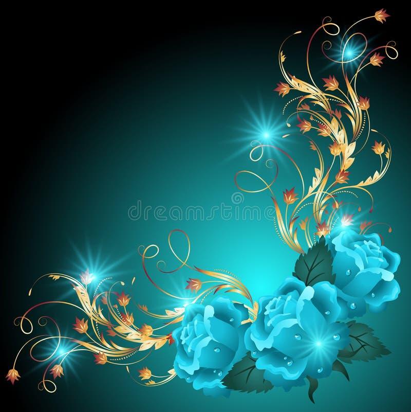 Blauwe rozen met gouden ornament royalty-vrije illustratie