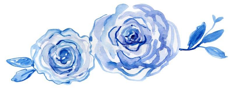 Blauwe Rozen waterverf met de hand geschilderde, uitstekende illustratie vector illustratie
