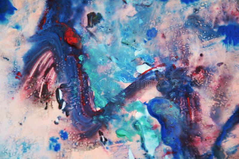 Blauwe rozerode groene zwarte verf, zachte mengelingskleuren, het schilderen vlekkenachtergrond, waterverf kleurrijke abstracte a royalty-vrije illustratie