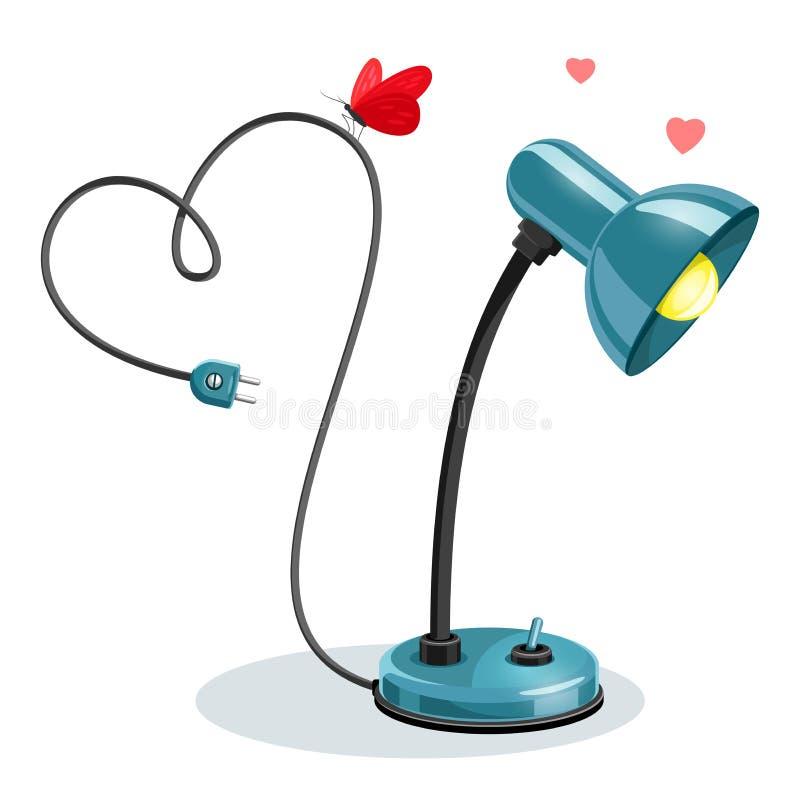 Blauwe schemerlamp met rode vlinder en harten Vector illustratie stock illustratie