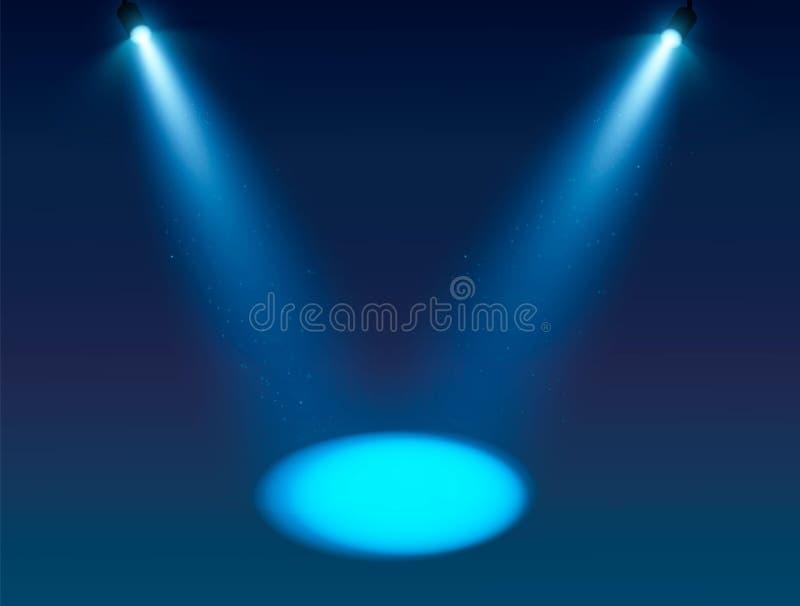 Blauwe Schijnwerper vectorachtergrond Verlichte effect vormprojector, projector voor studio Minimalisticvector royalty-vrije illustratie
