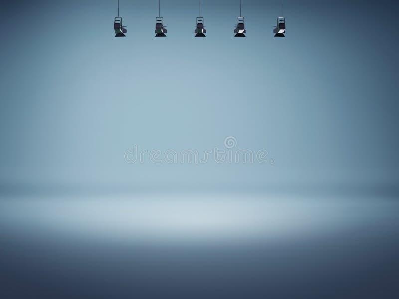 Blauwe schijnwerperachtergrond met lampen royalty-vrije illustratie