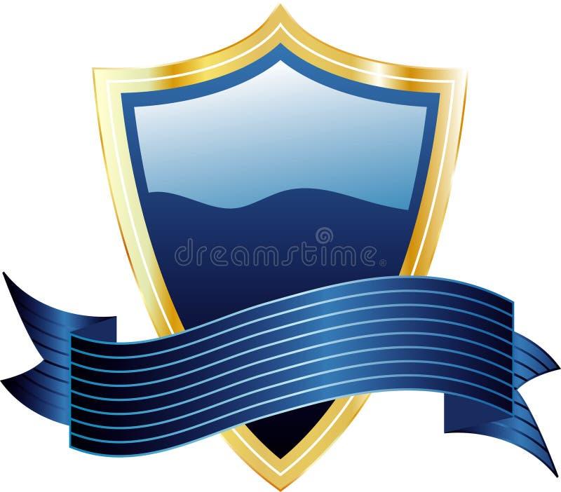 Blauwe schild en banner royalty-vrije illustratie