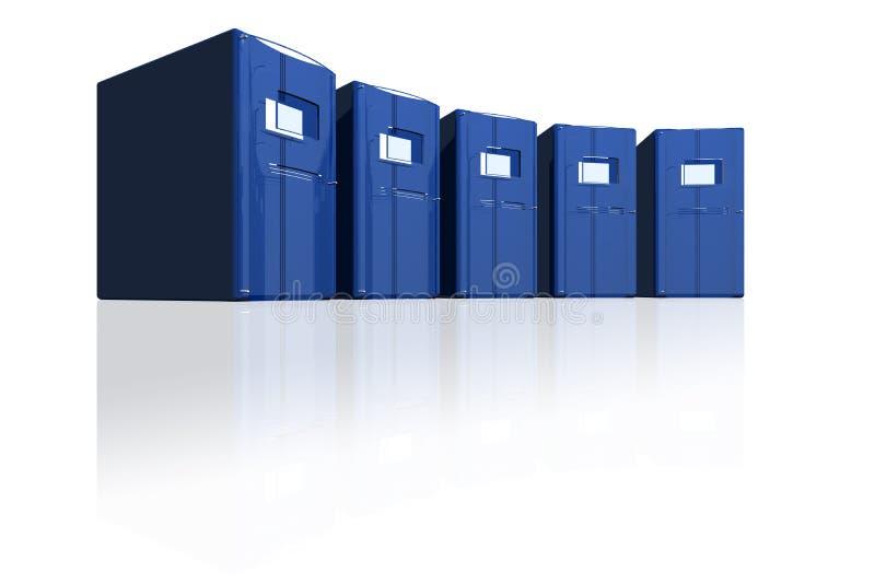 Blauwe servers in een cirkel vector illustratie