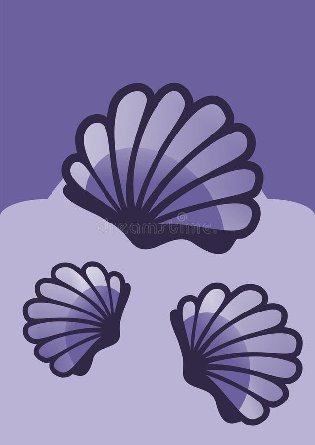 Blauwe shells royalty-vrije illustratie