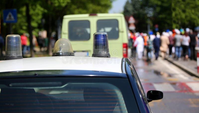 Blauwe sirene van de politiewagen royalty-vrije stock fotografie
