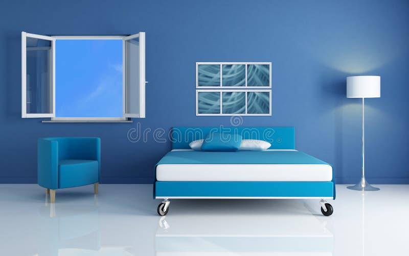 Blauwe slaapkamer stock illustratie. Illustratie bestaande uit vaas ...