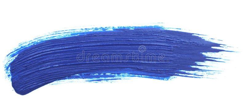 Blauwe slag van de verfborstel stock foto's
