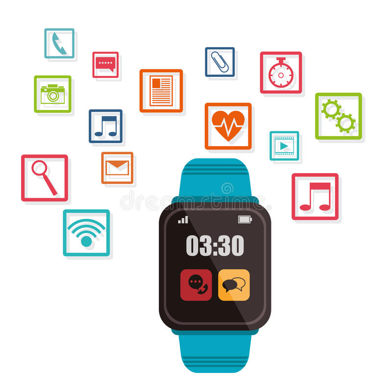 Blauwe slimme horloge wearable technologie stock illustratie
