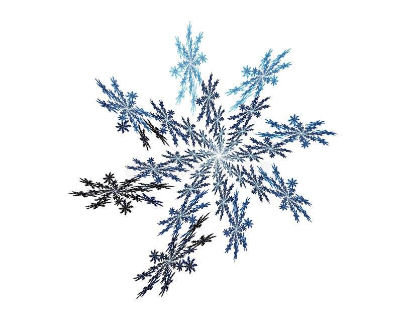 Blauwe sneeuwvlokfractal royalty-vrije illustratie