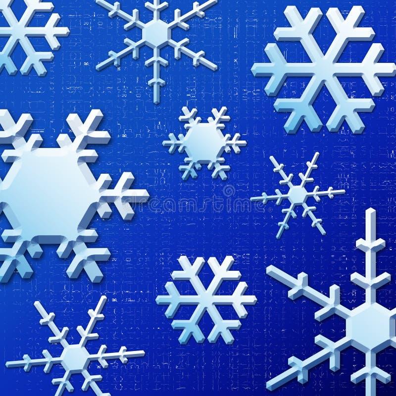 Blauwe Sneeuwvlokken royalty-vrije stock afbeelding