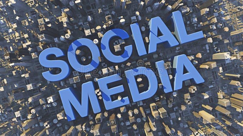 Blauwe sociale media tekst in een stad tussen wolkenkrabbers en gebouwen stock foto