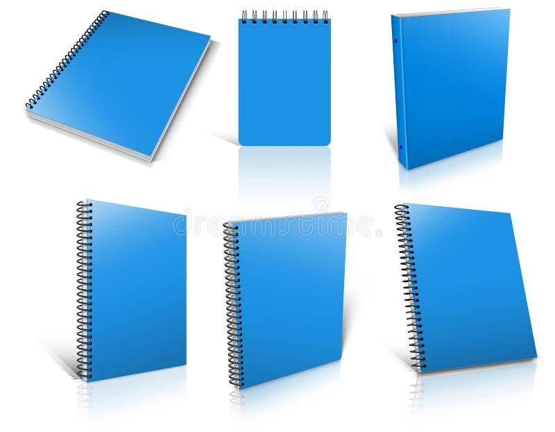 Blauwe spiraalvormige lege blocnote zes op wit vector illustratie