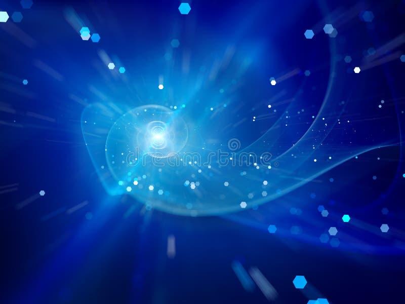 Blauwe spiraalvormige melkweg in ruimte royalty-vrije illustratie