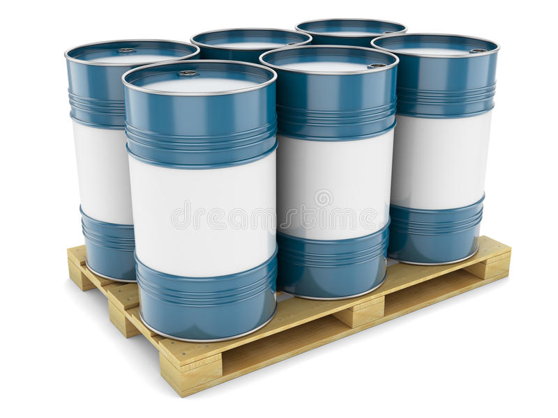 Blauwe staalvaten op pallet stock illustratie