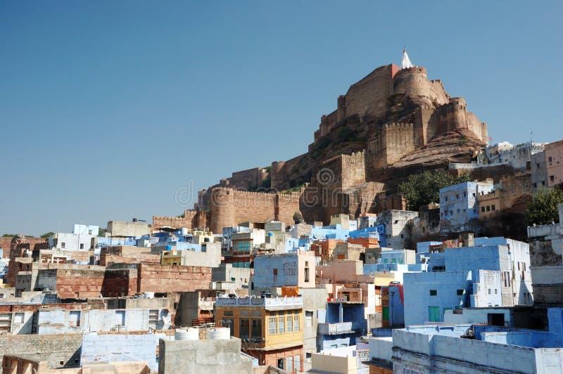 Blauwe stad van Jodhpur en Mehrangarh Fort, Rajasthan, India stock foto's