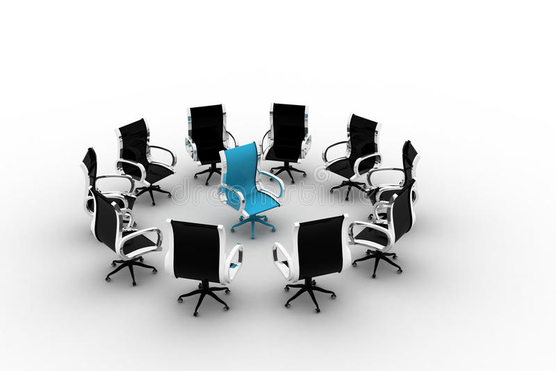 Blauwe stoel in een cirkel van zwarte stoelen stock illustratie