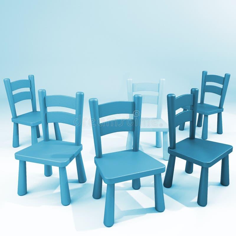 Blauwe stoelen op een lege ruimte royalty-vrije illustratie