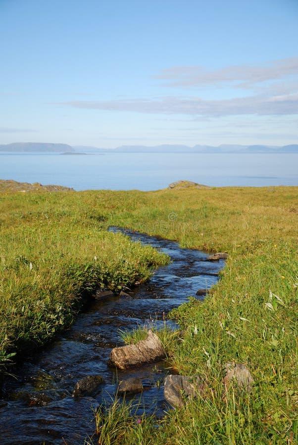 Blauwe stroom in groene weide van de zomer Soroya. royalty-vrije stock fotografie
