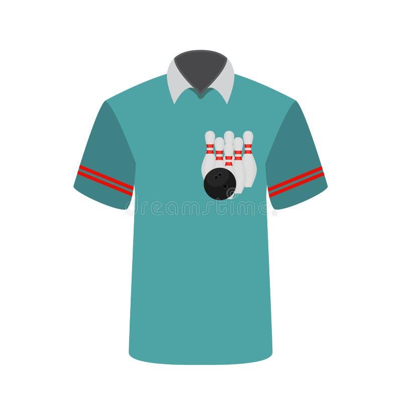 Blauwe T-shirtspeler met het beeld van kegelenkegels en bal vector illustratie