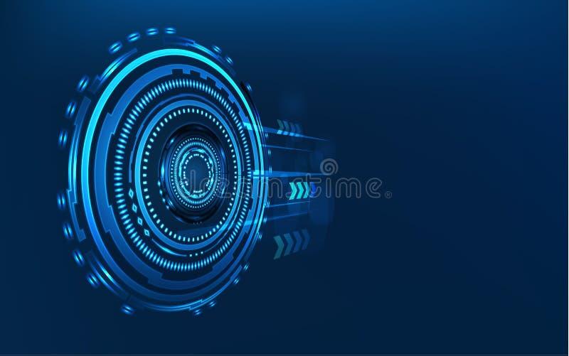 Blauwe technologiecirkel en computer abstracte achtergrond met blauwe en binaire codematrijs Zaken en verbinding Futuristisch en vector illustratie