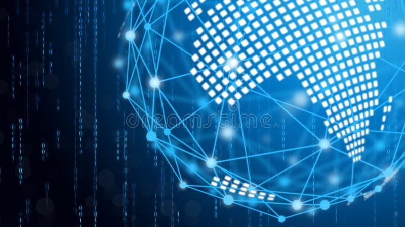 Blauwe technologiecirkel en informatica abstracte achtergrond met blauwe en binaire codematrijs Zaken en verbinding stock fotografie