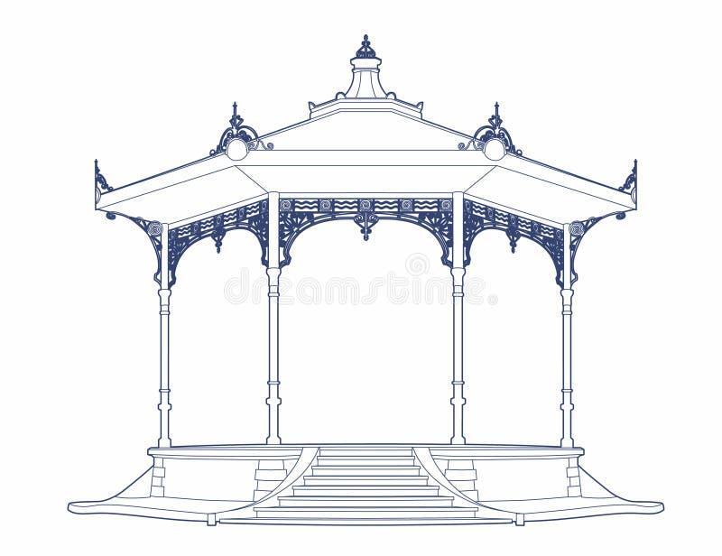 Blauwe tekening van een oude muziektent royalty-vrije illustratie