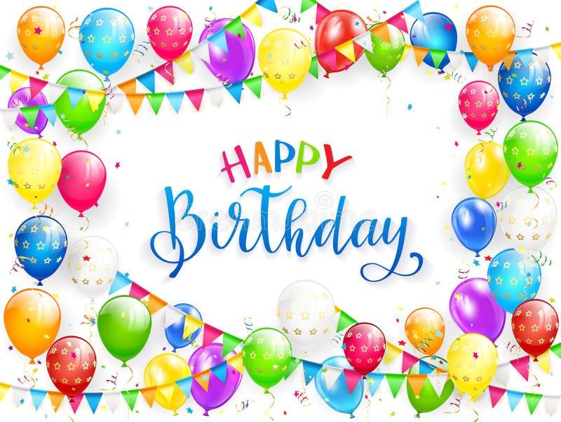 Blauwe tekst Gelukkige Verjaardag met ballons en multicolored confettien royalty-vrije illustratie