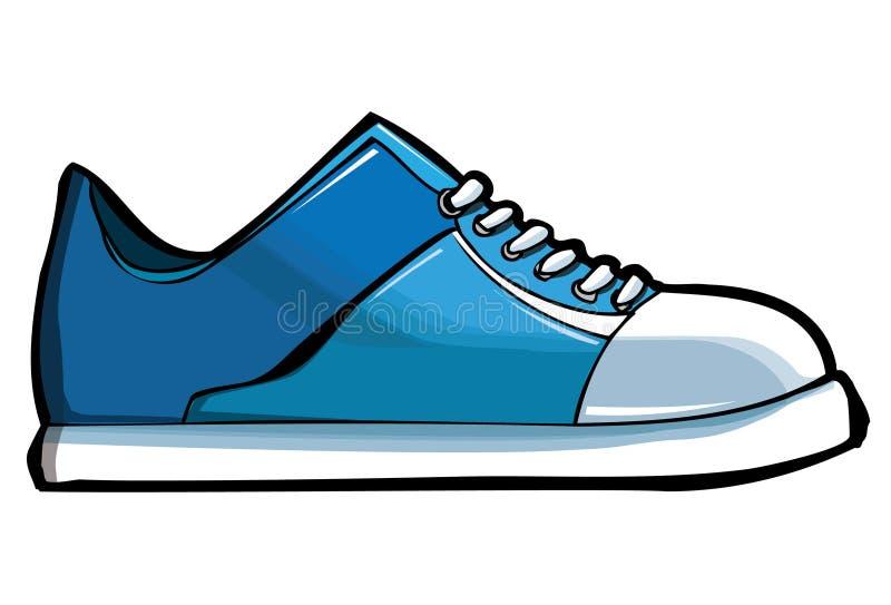 Blauwe tennisschoen of trainer vector illustratie