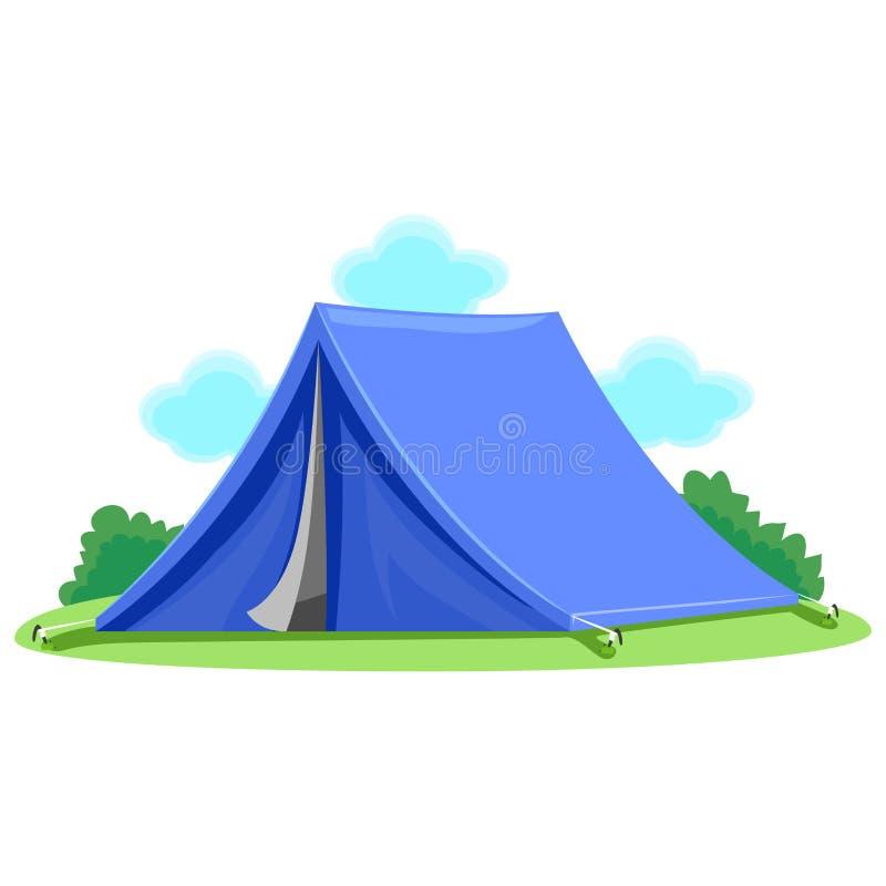 Blauwe tent stock illustratie