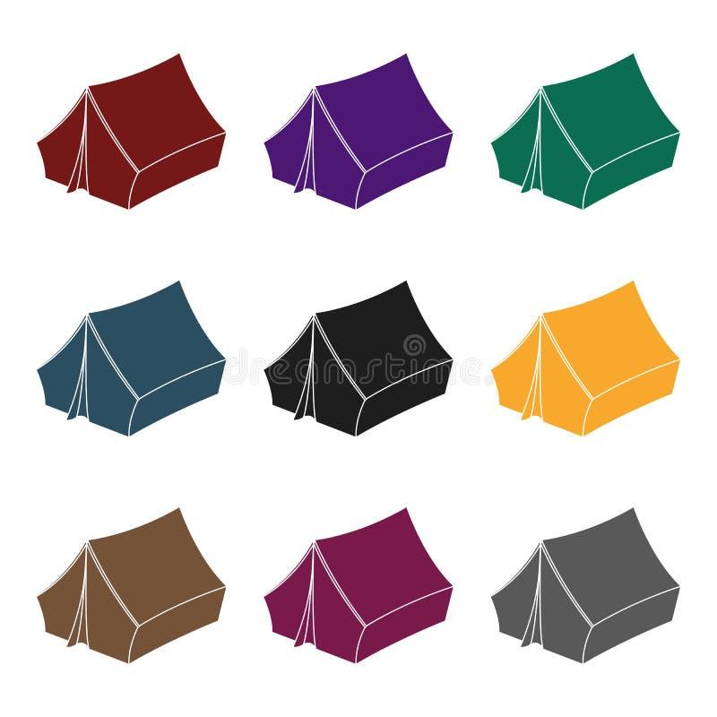 Blauwe tent met pinnen Hippy enig pictogram in het zwarte Web van de de voorraadillustratie van het stijl vectorsymbool stock illustratie