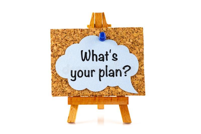 Blauwe toespraakbel met uitdrukking Welke ` s uw plan? op corkboard  royalty-vrije stock afbeeldingen