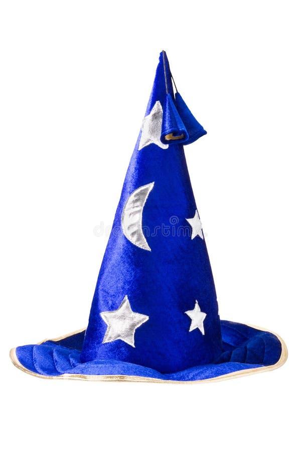 Blauwe tovenaarshoed met zilveren sterren, geïsoleerd= GLB stock fotografie