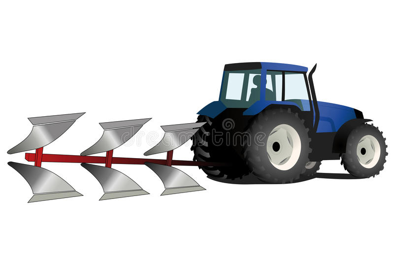 Blauwe tractor met ploeg royalty-vrije illustratie