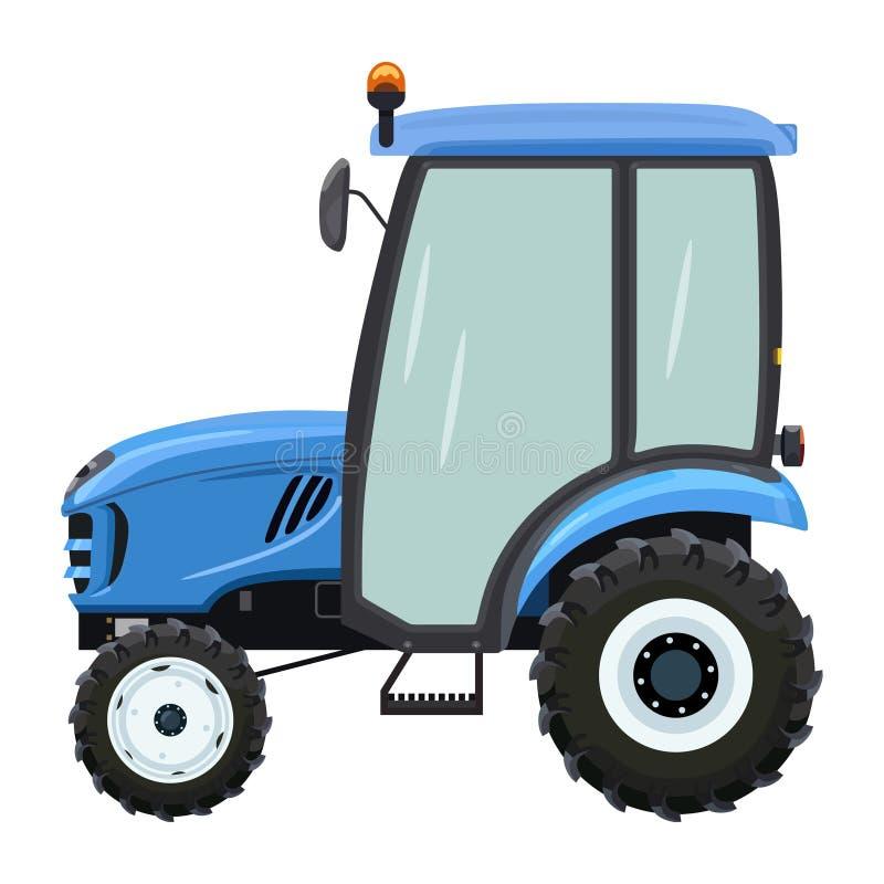 Blauwe tractorkant vector illustratie