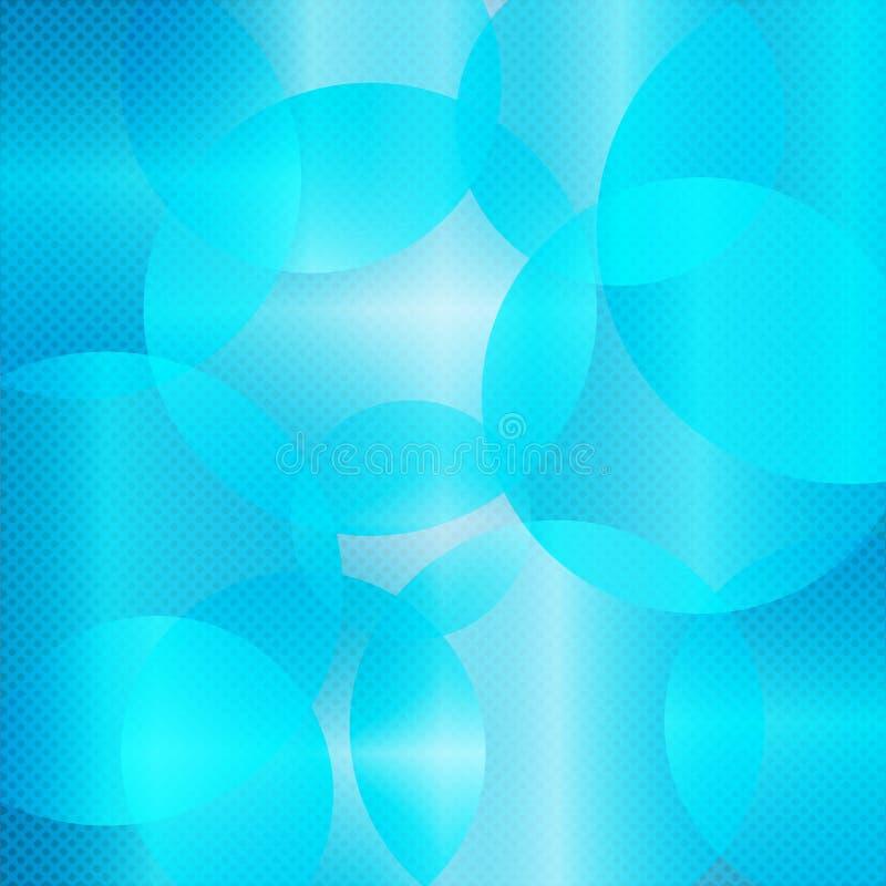 Blauwe transparante achtergrond met cirkels stock illustratie