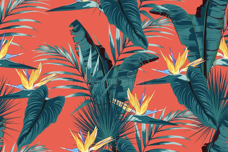 Blauwe tropische bladeren met wildernisinstallaties Naadloos vector tropisch patroon met monsterabladeren en gele strelitziabloem royalty-vrije illustratie