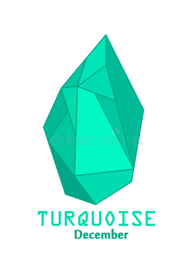 Blauwe turkooise gemsteen, Blauw kristal, Gemmen en minerale kristalvector, December-birthstonehalfedelsteen royalty-vrije illustratie