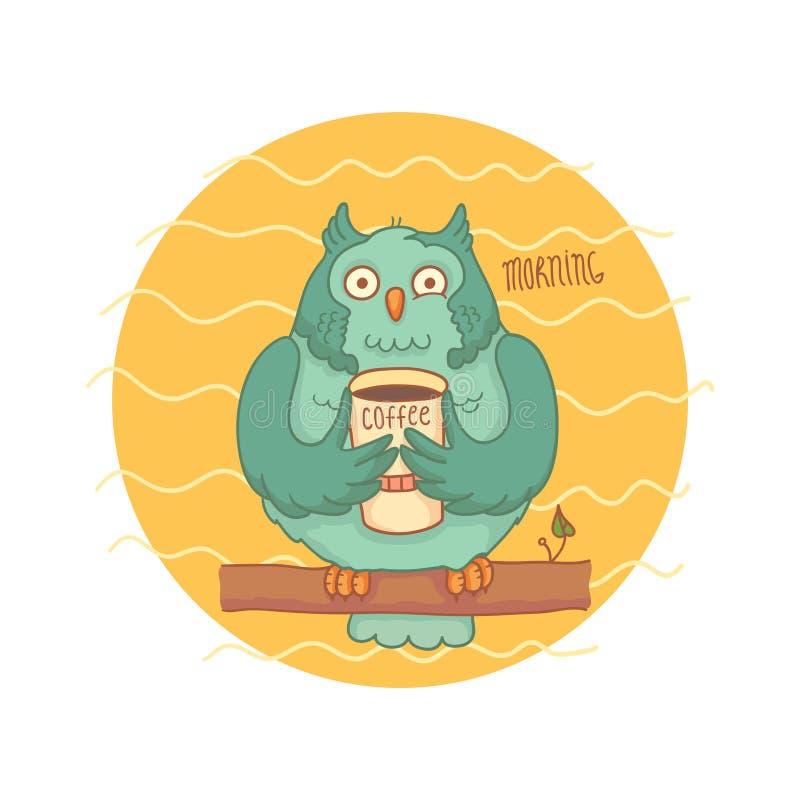 Blauwe uil met koffiezitting op een tak royalty-vrije illustratie