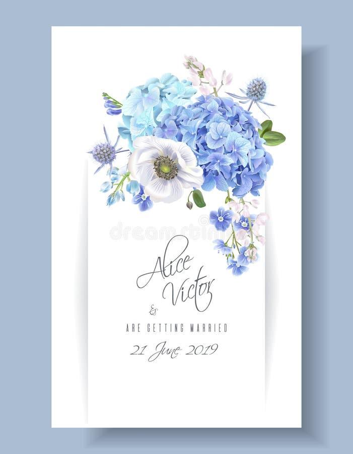 Blauwe uitnodigingskaart vector illustratie