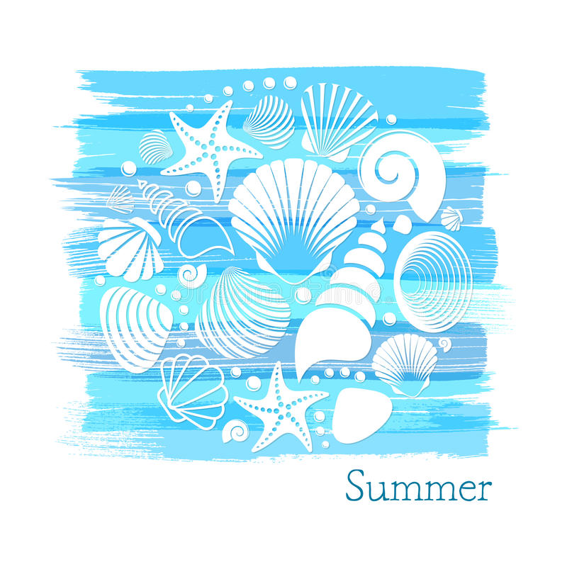 Blauwe uitstekende de zomerkaart vector illustratie